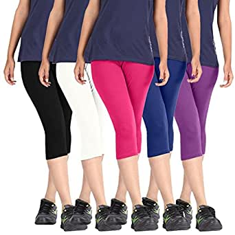 ROOLIUMS ® (Brand Factory Outlet Womens Cotton Capri Combo Pack of 5, 4 Way, 190 GSM - Free Size