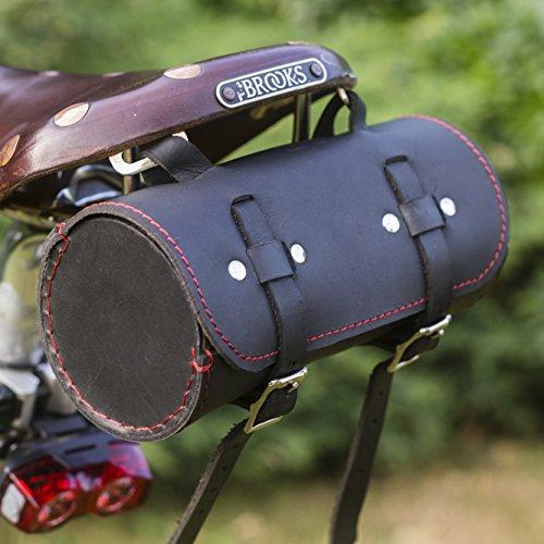 London Craftwork Classic - Sillín/Bolso de Manillar de Piel auténtica, Color Negro/Rojo para Herramientas de Bicicleta