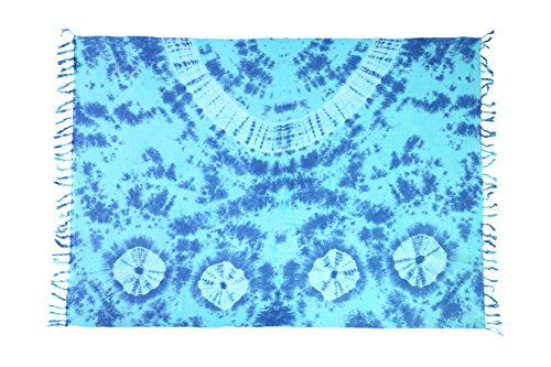 Ciffre Pareo Wickelrock Strandtuch Sarong Sauna Tuch Wandbehang Blau Batik + Schnalle