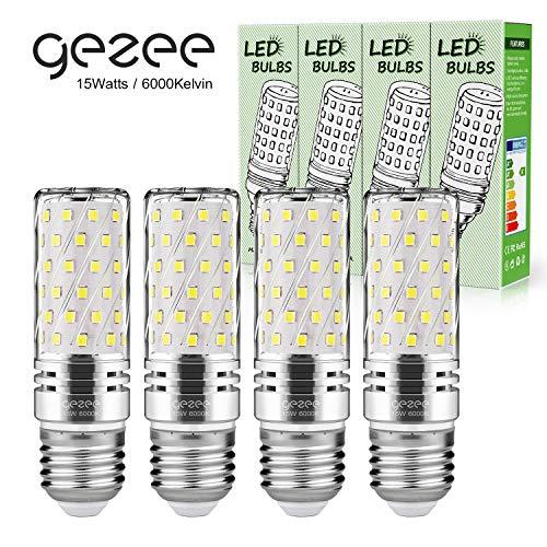 Gezee LED Silber Mais Glühbirnen E27 15W 120W Entspricht Glühbirnen Nicht dimmbar 6000K Kaltweiß 1500Lm Kleine Edison-Schraube Kerze Leuchtmittel (4er-Pack)