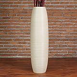 Grande Vaso da Terra 90 cm, Legno di Mango, Crema