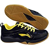 Li-Ning Men's Jetta Non Marking Microfiber Black And Yellow Badminton Shoes 6 UK