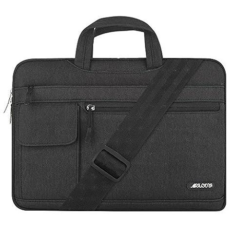 MOSISO Notebooktasche für 13-13,3 Zoll MacBook Pro, MacBook Air, Notebook Computer, Polyester Flapover Art Laptop Schultertasche Sleeve Hülle Umhängetasche mit Griff und Schulterriemen aus strapazierfähigem als Messenger Bag, Schwarzes