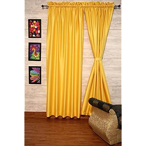 Mostaza cortinas satén de seda Dupioni sintética, elección de piezas, anchura y longitud elección con forros opacos por zappycart., 104