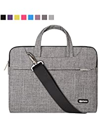Qishare 13.3-14 Inch Laptop Bag,Multi-functional Fabric Waterproof Laptop Case,Adjustable shoulder strap&Suppressible Handle,Portable Sleeve Briefcase(grey lines)