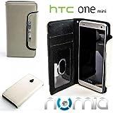 Original Numia Design Luxus Bookstyle Handy Tasche Samsung HTC One mini / M4 Weiss-Schwarz Handy Flip Style Case Cover Gehäuse Etui Bag Schutz Hülle NEU