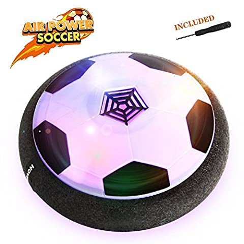 Betheaces Hover Ball Toys, Air Power Soccer Disc Glide Base Ball Game Training Indoor Outdoor Fun Toys with Soft Foam Bumpers and LED Lights Perfect Football Gifts for Kids Teens (Soccer Hover