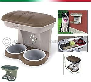 CIOTOLA DOPPIA APPENDIBILE fissaggio a parete con viti incluse e vano porta oggetti per cane e gatto 100%MADE IN ITALY (VERDE)