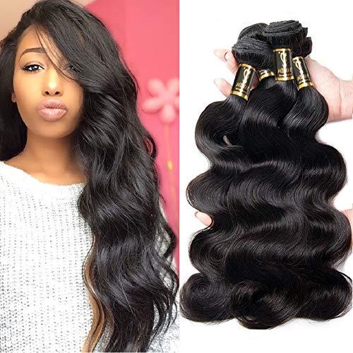 Yavida Human Hair Waves Brazilian Human Hair Bundles Extensions Echthaar Remy Body Wave 3 Bundles Weave Hair Brasilianische Haare 16 18 20 Inch Haarverlängerung Echthaar