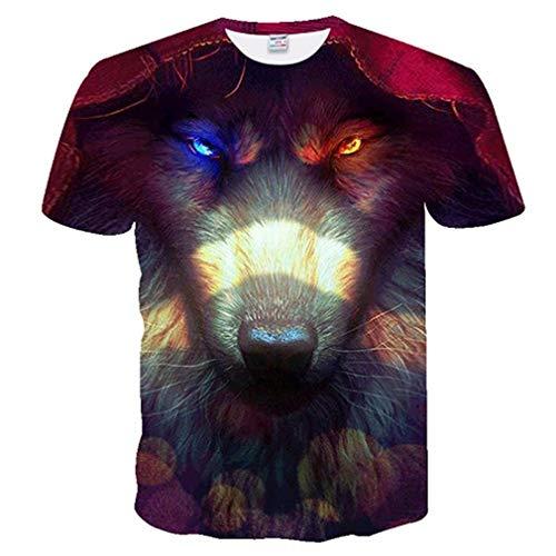 Männer T-Shirt T-Shirt Krieg T-Shirt Kleidung Tees Tops Männer 3D Sternenhimmel Fluoreszierende Wolf T-Shirt Cool T-stück TXUO-269 European Size ()