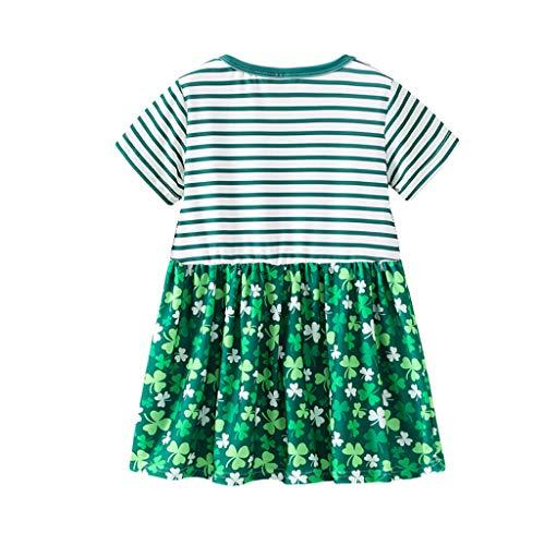 Longra Kleider Kurzarm für Kinder Gestreifte Stickkarte Gedruckte Blumenkleider ()