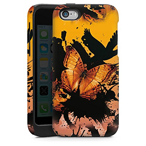 Apple iPhone 5s Housse Étui Protection Coque Papillon Grunge Art Cas Tough brillant