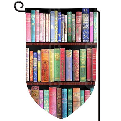 Lilyo-ltd Bookworm Antike Bücher Garten Hofflagge 31,8 x 45,7 cm doppelseitig Polyester Willkommen Haus Flagge -