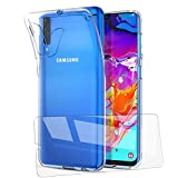 AILRINNI Coque pour Samsung A70 + Verre Trempé écran Protecteur, Prémium Transparente Silicone TPU Bumper Etui Housse + Film Protection d'Écran en Protecteur vitre pour Samsung Galaxy A70