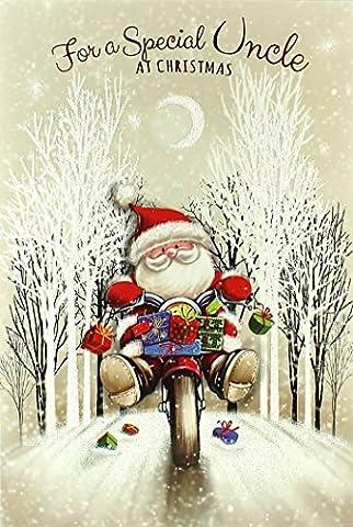 Uncle Weihnachten Karte–Traditionelle Santa Claus halten Weihnachts Liste in der Schnee-22,9x 15,2cm
