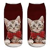 VECDY Socken, Cyber Monday Specials Hohe Qualität Weihnachten Lustige 3D Mode-Katze Unisex gedruckt beiläufige Socken Nette niedrige geschnittene Söckchen