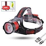 LED Stirnlampe, Sunix USB Wiederaufladbare LED Kopflampe, Zoomable, 3 Helligkeiten, inklusive USB Kabel und Akkus, Perfekt fürs Joggen, Gehen, Campen, Lesen, Laufen, für Kinder und mehr