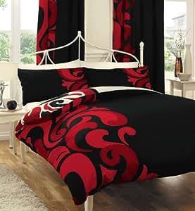 Noir Rouge Parure de lit - 2 personnes Housse de Couette 200 x 200 cm + 2x Taie 50x75 , Moderne literie de luxe-Set Grander