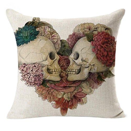 Sonnena funda de almohada de lino decorativo fundas de cojín Vintage calavera manta
