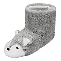 Womens Teen Girls 3D Fox Design Thick High-Top Boots Cold Weather Thermal Plush Antiskid Snow Booties Feet Warmer Indoor Slippers Shoes Footwear, Christmas