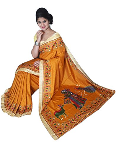 BuyOnn Women\'s Multi-coloured Saree New Collection Kalmakari Art Silk Sarees For Women Party Wear Sarees With Blouse Piece