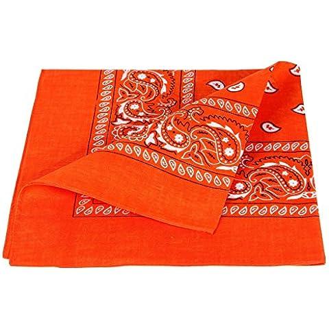 Bandana arancione paisley multifunzione classica BA-57 di colori diversi foulard scialle collo rocker biker motociclista motorcycle pirata accessorio hip hop cappellino cowboy bracciale - Arancione Pirata