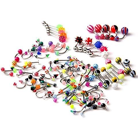Lot de 105 piècesassorties de 21styles, bijoux de corps, langue, lèvre, nombril, ventre, sourcils, anneaux, barres