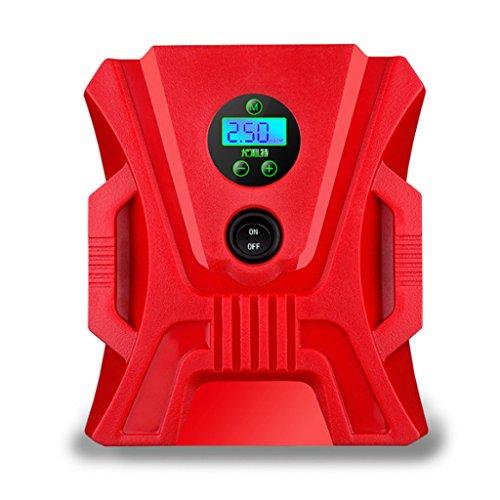 JIBO Tragbare Elektrische Auto Luftpumpe Mini Doppelzylinder Digitalanzeige Zeiger LED Leuchtet Schlauchboote Sport Ball Mit Luftpumpe 12V,Red,Digitaldisplay
