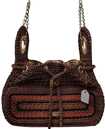Umhängetasche Braun-Bronze mit großen Ösen und Kette Braun Crossbody Tasche. Gestrickte kleine Chocolate Hobo Tasche Bequeme und praktisch Tasche -