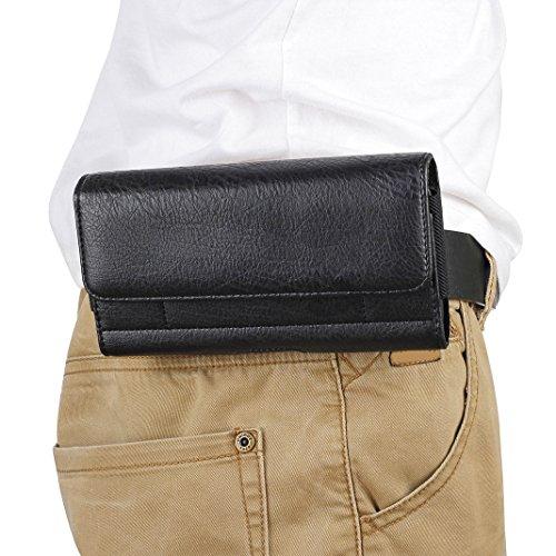 """Bolsas del Teléfono con Clip de Cinturón, Moon mood 6.3"""" Funda de Piel de Cuero PU Bolsas de Cintura Hombre Billetera Cartera Protectora Bag con Ranuras para Tarjetas para BQ Aquaris X Pro, Negro"""