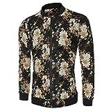 Manadlian [New Arrival Design] Frühling Herbst Winter Herren Männer Schlank Warm Sweatshirt Blumen gedruckt Mantel ReißverschlussJacke Rundhals Outwear (Blau, L)