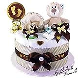 Gâteau gâteau/Pampers Couches > bébé cadeau pour fille et garçon dans un beau Marron–Beige Argile (neutre)//Cadeau de naissance, baptême, baby party//Cadeau Original et Pratique Pour Bébé