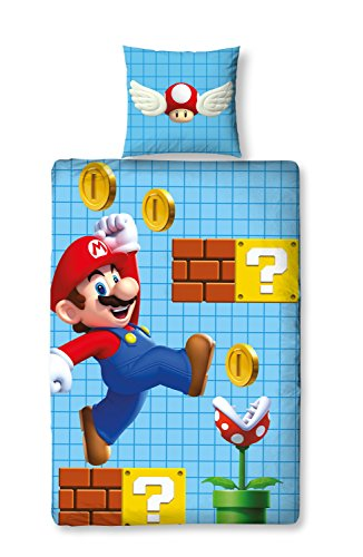 Linon Kinder Wende-Bettwäsche Super Mario Bros
