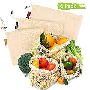 Oladwolf Gemüsebeutel Wiederverwendbar, 9er Set Obst und Gemüse Beutel Zero-Waste Plastikfrei, Gemüsenetz 100% Bio…
