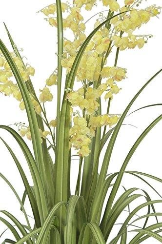 artplants – Künstliche Glockenblume mit Schilfgras, 5 Blüten-Rispen, gelb, 105 cm – Künstliches Gras/Kunstblumen