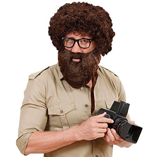 Amakando Araber Vollbart braun | Hipster-Bart mit Schnurrbart | Voller Moslem Herrenbart mit Mustache | Faschingsbart Hipsterbart Steinzeit Urmensch Dschungel Pirat Kapitän | Karneval Kostüm Zubehör