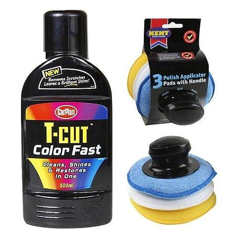 T Cut BLACK Colour Fast Polish 500ml + 3 Pcs Applicator Pad Set