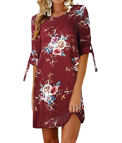 Damen T-Shirt Kleid Rundhals Kurzarm Minikleid Blumen Strandkleider Langes Shirt Lose Tunika mit Bowknot Ärmeln (0881Weinrot, 4XL) ()