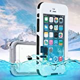 "Semoss Impermeable Huella Dactilar Funda de Para Apple iPhone 6 Plus (5.5"") Waterproof Acuatica Sumergible Protectora Bumper Hard Carcasa-Blanco"