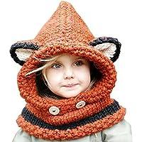 Pershoo Inverno a maglia di lana Berretti Fox Cappelli neonate scialli con cappuccio Cowl Beanie,Lana Inverno Stoffe Cappelli, Pershoo bella sveglia Bella forma asino volpe del cappello di inverno del cappello del bambino impostato con sciarpa per le ragazze