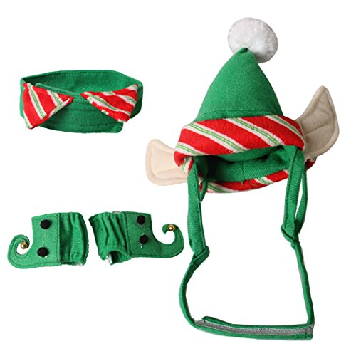 Imagen de disfraces de navidad de gato, legendog 3 piezas de navidad traje de gatito sombrero cuello leg garters pet disfraces para gato alternativa