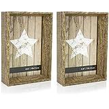 com-four 2X Bilderrahmen aus Holz im rustikalen Design für Fotos der Größe 10 x 15 cm, Tiefer 3D Bilderrahmen mit Glasscheibe, 16,3 x 11,3 x 4 cm (02 Stück - Holz)