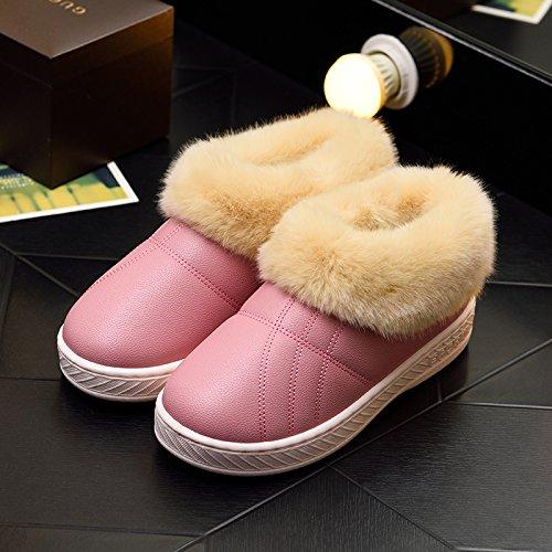 DogHaccd pantofole,Inverno pelle pu di spessore, antiscivolo soggiorno impermeabile home scarpe di cotone uomini e donne paio di pantofole di cotone confezione con scarpe di peluche Colore solido rosa scuro1