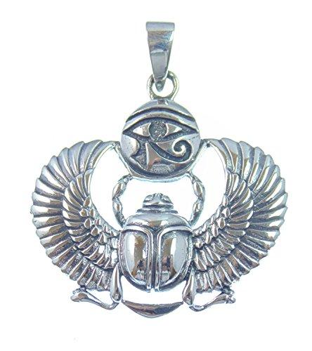 Silber Anhänger Skarabäus mit Horusauge, Glücksbringer und Symbol für Auferstehung und Leben, 925 Sterling Silber, 4 cm L, 3,3 cm B, Versand innerhalb 24 Stunden !!!