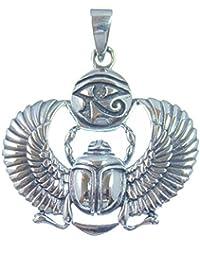 Colgante de plata, diseño de escarabajo con ojo de Horus, amuleto de la suerte y símbolo de resurrección y vida, Plata de ley 925, 4cm L, 3,3cm B
