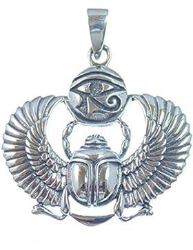Silber Anhänger Skarabäus mit Horusauge, Glücksbringer und Symbol für Auferstehung und Leben, 925 Sterling Silber...