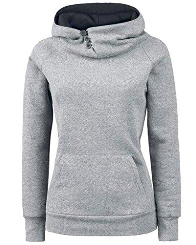 Minetom Femme Automne Hiver Sweats À Capuche Manches Longues Encapuchonné Tops Avec Boutons Solide Couleur Sweat-Shirt Gris