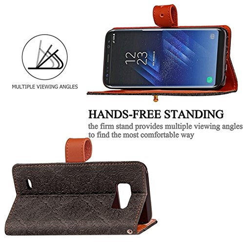 YHUISEN Galaxy S8 Plus Case, Magnetverschluss European Style Wandgemälde prägeartig PU Leder Flip Wallet Case mit Stand und Card Slot für Samsung Galaxy S8 Plus ( Color : Gray ) Brown