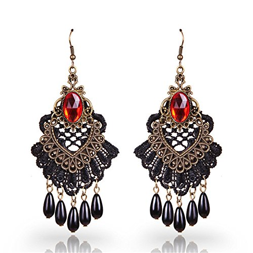 Emorias 1Pair Ohrringe Vintage Quaste Gothic Spitze Edle Ohrringe Damen Mode Schmuck Accessoires 9.5cm*5cm Rot