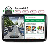 Junhua 9 Zoll Android 8.0 4GB RAM Autoradio für VW Passat Touran Polo Golf Skoda Fabia GPS Navigation 7 Zoll Kapazitiver Touchscreen Kopfeinheit Radio DAB+ Mirrorlink SAT NAV CANbus Bildschirm Spiegelfunktion OBD2